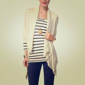 Cabi Cardigan Sweater Size S Tan Open Wrap Linen